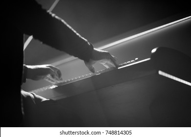 The pianist performs a musical work on the piano on stage