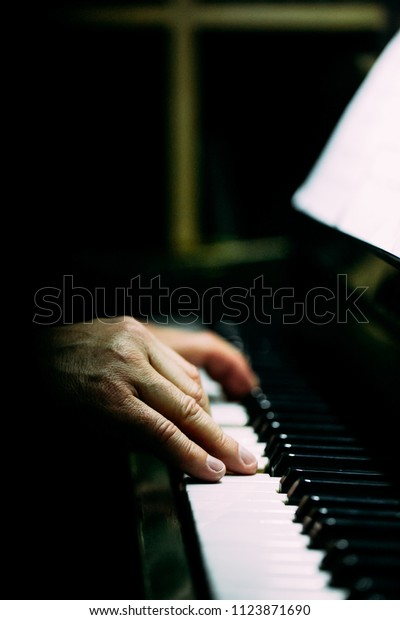 Pianist Playing Piano Dark Room Piano Stock Photo (Edit Now) 1123871690
