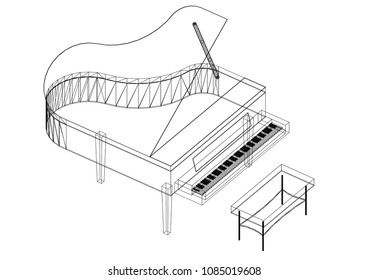 Piano blueprint images stock photos vectors shutterstock piano 3d blueprint isolated malvernweather Image collections