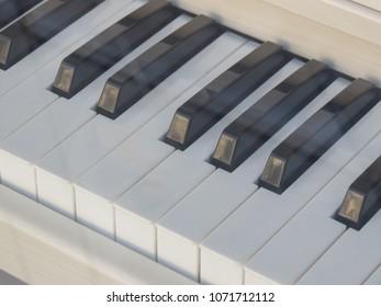 Piano aka Pianoforte keyboard close up perspective