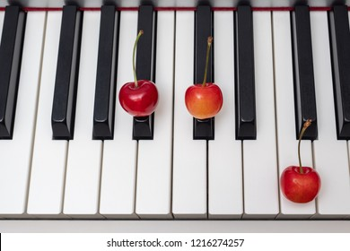 Piano chord A#m (A sharp minor) / Bbm (B flat minor) shown by cherries on the key