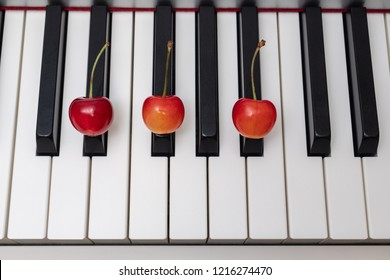 Piano chord D#m (D sharp minor) / Ebm (E flat minor) shown by cherries on the key