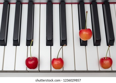 Piano chord shown by cherries on the key - Minor Seventh series - Bm7 (B minor seventh)