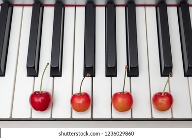 Piano chord shown by cherries on the key - Minor Seventh series - Dm7 (D minor seventh)