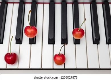 Piano chord shown by cherries on the key - Minor Seventh series - Cm7 (C minor seventh)