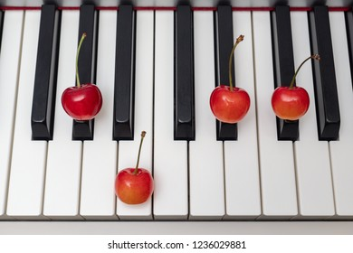 Piano chord shown by cherries on the key - Minor Seventh series - G#m7 (G sharp minor seventh) / Abm7 (A flat minor seventh)