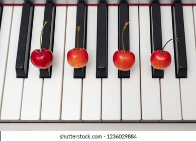 Piano chord shown by cherries on the key - Minor Seventh series - D#m7 (D sharp minor seventh) / Ebm7 (E flat minor seventh)