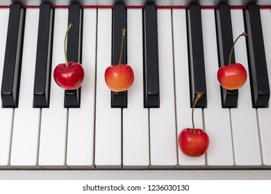 Piano chord shown by cherries on the key - Minor Seventh series - A#m7 (A sharp minor seventh) / Bbm7 (B flat minor seventh)