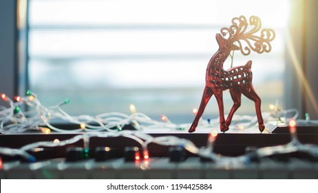 piano and Christmas decoration for new year and christmas concept background