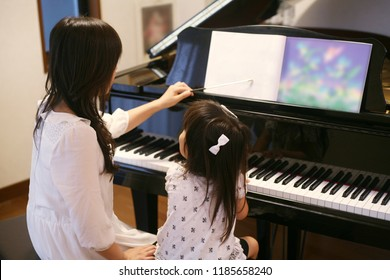 A piano classroom and Japanese girl
