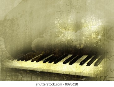 piano in grunge