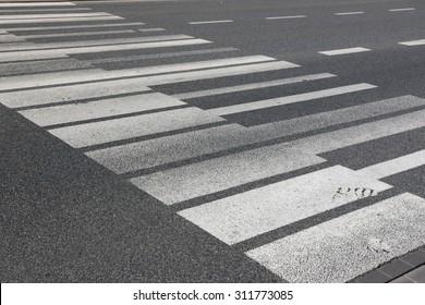 Piano key pedestrian crossing in Warsaw, Poland.