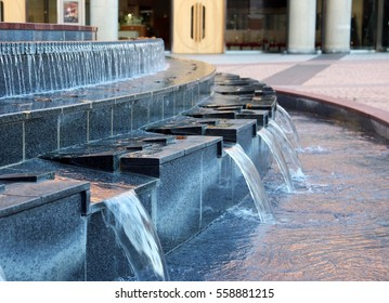 A piano key shaped water  fountain in the plaza, Hamamatsu city, Shizuoka prefecture, Japan