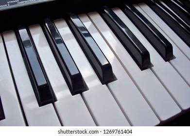 Piano KeyBoard at angle shaded