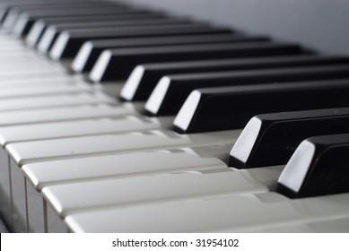 Piano keyboard, close-up