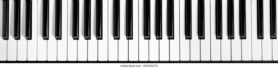 Piano keyboard. Flat top view. Horizontal photo