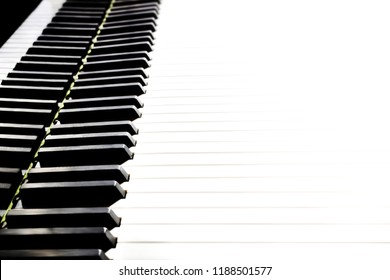 Piano keyboard. Grand piano keys closeup. Classical music instrument close up isolated on white background