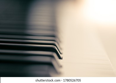 Piano and keyboard piano, Music instrument. Black and white key. side view of instrument musical tool. - Shutterstock ID 1780526705