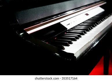 Piano keyboard on focus at first white piano key