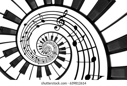 Piano keyboard printed music abstract fractal spiral pattern background. Black and white piano keys round spiral. Spiral stair. Piano helical pattern abstract background Abstract isolated piano spiral