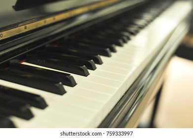 piano keyboard in selective focus point