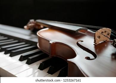 Piano keyboard with violin,top view