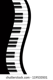 Piano Keyboards Wavy Border Background Illustration Raster Vector