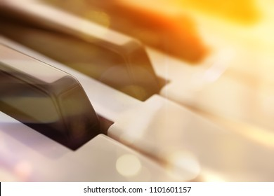 Piano keys abstract background.Relax music for travel road.Piano music concept