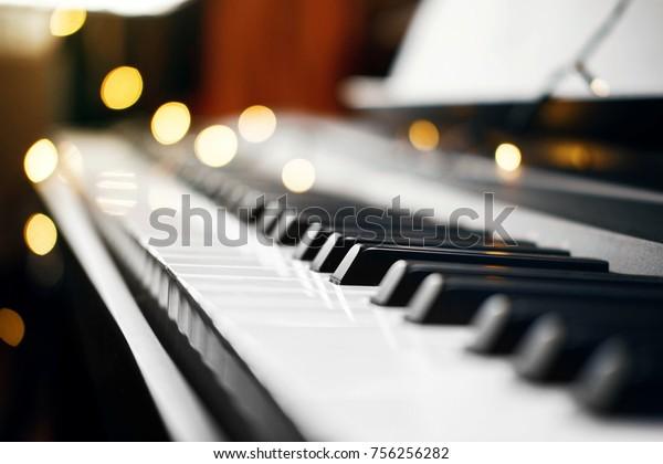 Piano Keys Beautiful Small Yellow Lights Stock Photo (Edit