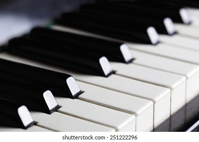 Piano keys close-up. Horizontal image.