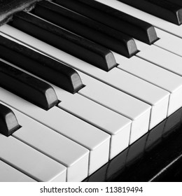 piano keys closeup monochrome
