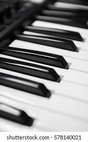 Piano keys closeup view black&white