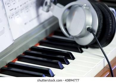 Piano keys and Headphones