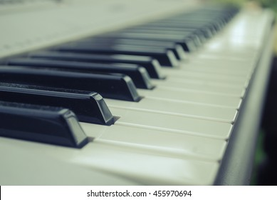 Piano keys from low angle point.vintage tone..selective focus, Soft focus