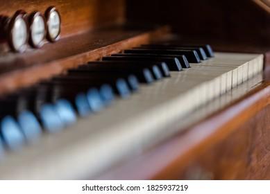 Piano keys from old piano close up