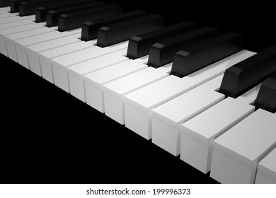 Piano Keys on black