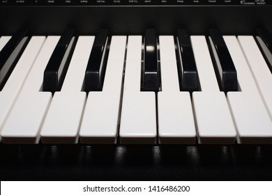 piano keys on black background, look at the keys of a keyboard