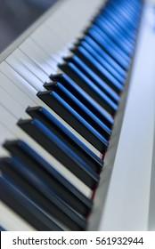 Piano keys on brand new piano