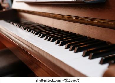 piano keys on historical piano with ivory keys