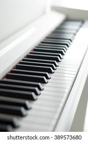 Piano keys. Piano playing. Black and white keys. Electronic piano. Musical instrument.