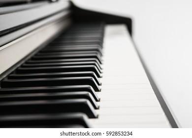 Piano keys side view