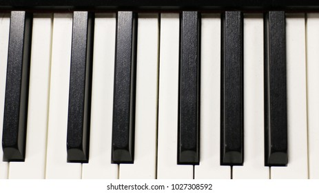 Piano keys in the studio