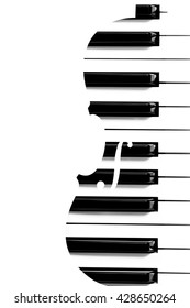 piano keys in violin shape & copy space on left for music background