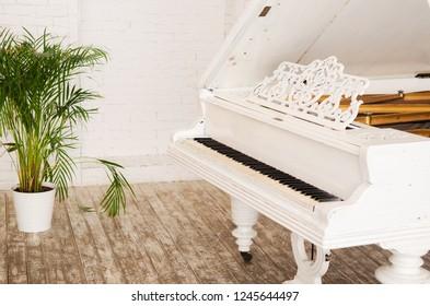 Piano in light home interior of modern studio