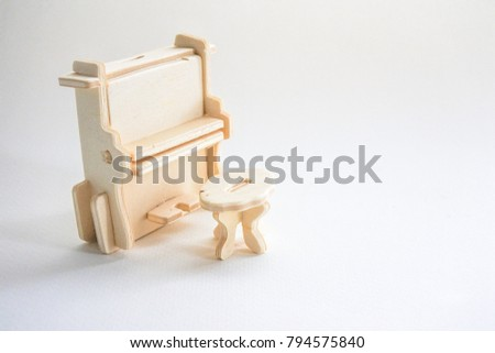 Enjoyable Piano Little Chair On White Background Stock Photo Edit Now Squirreltailoven Fun Painted Chair Ideas Images Squirreltailovenorg