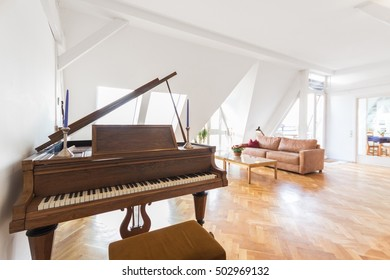 piano in living room - beautiful apartment home