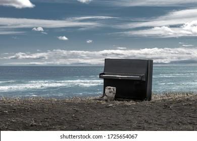 piano on the ocean beach