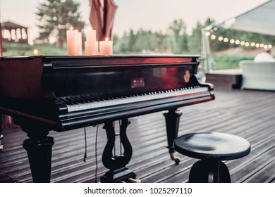 piano on the summer terrace