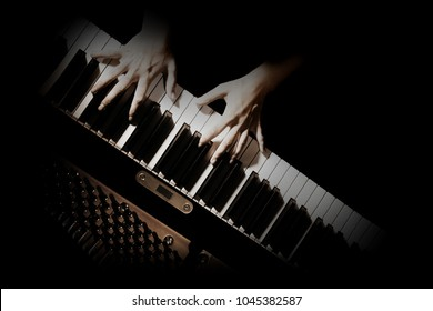 Piano player hands. Pianist playing grand piano keyboard music instrument closeup