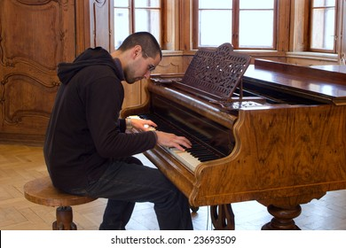 piano player in interior of old casltle